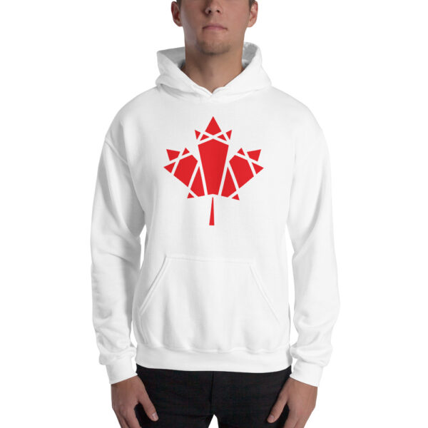 man wearing a white hooded sweatshirt with a geometric red maple leaf design on the chest