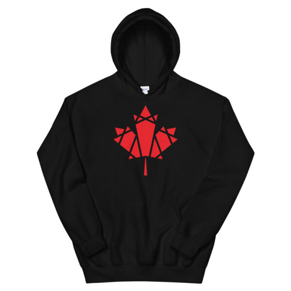 black hooded sweatshirt with a geometric red maple leaf design on the chest