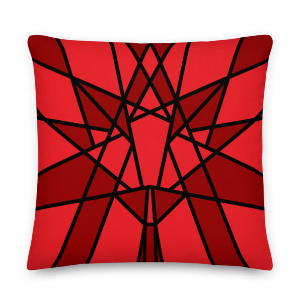 22 inch square pillow with a geometric red maple leaf design