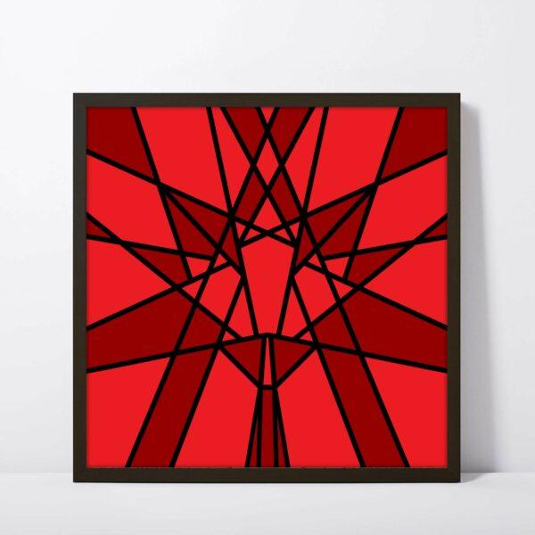 square fine art print with a geometric red maple leaf design in a black frame