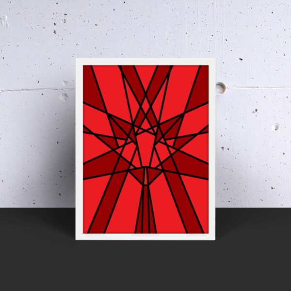 vertical fine art print with a geometric red maple leaf design in a white frame