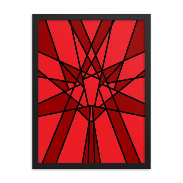 18 inch by 24 inch vertical fine art print with a geometric red maple leaf design in a black frame