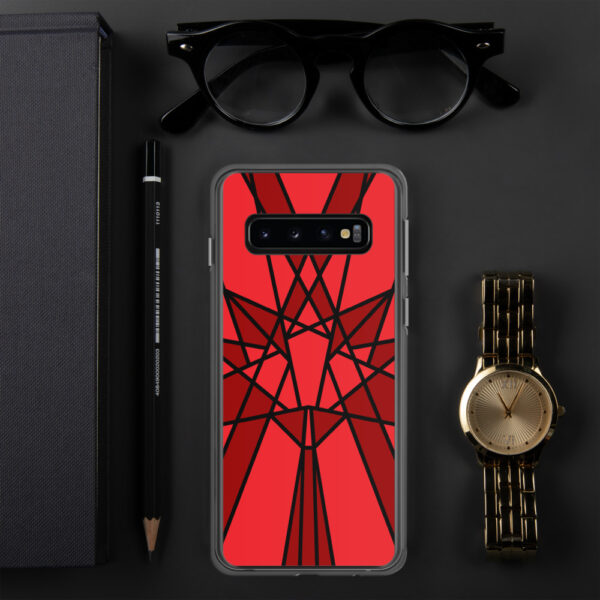 samsung phone case with a geometric red maple leaf design sitting next to a watch