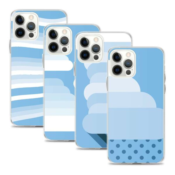 four iphone cases with minimalist white and blue cloud designs