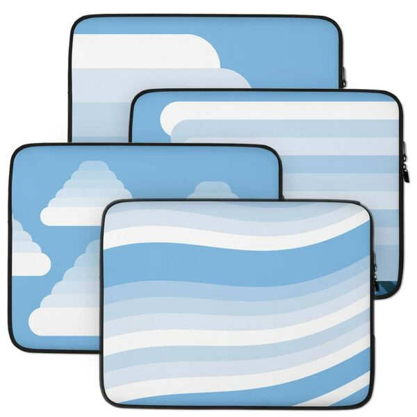 group of four laptop sleeves with different white cloud designs on blue backgrounds