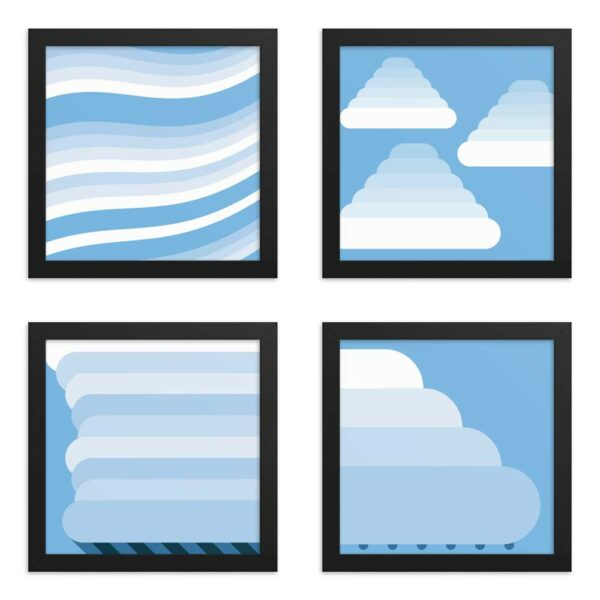 four framed fine art prints each with a different minimalist blue and white cloud design