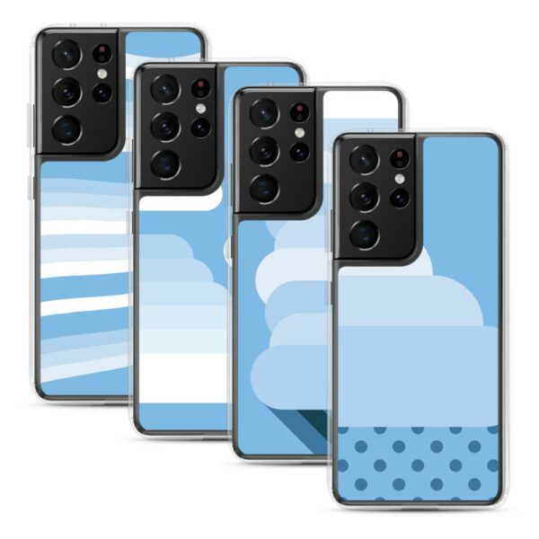 four samsung phone cases with minimalist white and blue cloud designs