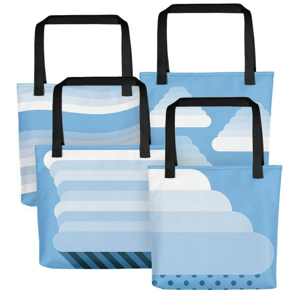 four tote bags with black handles and minimalist blue and white cloud designs