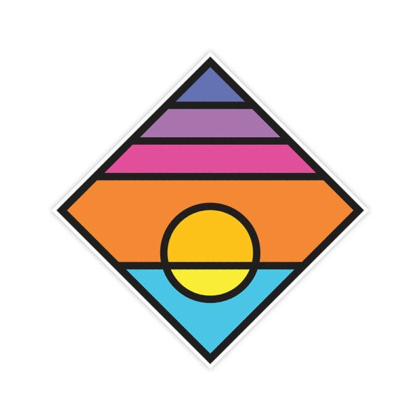 square sticker with a colorful minimalist sunset design