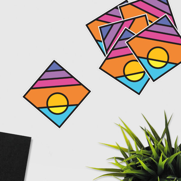 group of square stickers with a colorful minimalist sunset design
