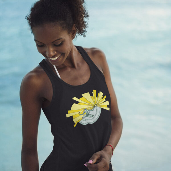 woman on a beach wearing a black tank top with a spirit of detroit illustration