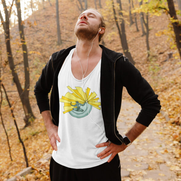 man in a forest wearing a white tank top with a spirit of detroit illustration