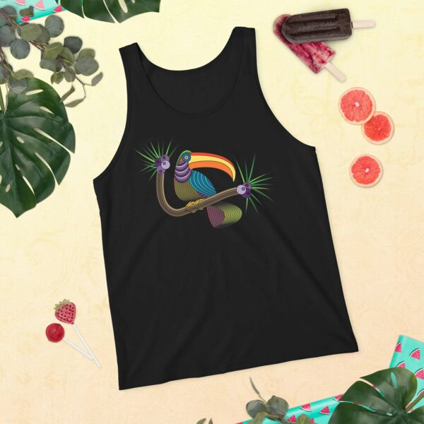 black tank top with a colorful toucan design on a table with plants